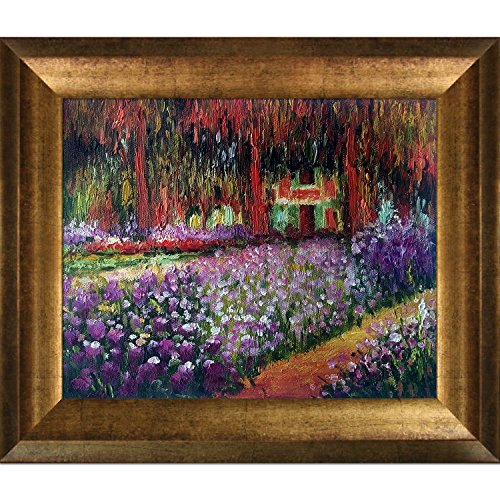 overstockArt Monet Artist's Garden at Giverny Artwork with Athenian Antique Gold Finish