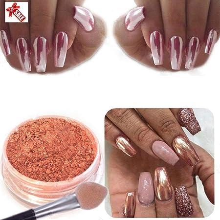 QUICKLYLY Uñas/Manicura-Decoración Atractiva Del Nail Arte Del Polvo Del Cromo Brillo Uñas Polvo Del Espejo Clavo Rose Gold: Amazon.es: Belleza