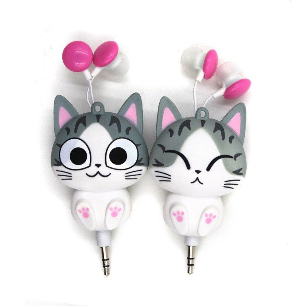 Chit Cat Earphones, Kimkoala 2 Pcs Cute Cartoon Retractable Earphone Headphone 3.5MM In-Ear Earbuds Earpiece For Mobile Phone MP3 Player Laptop For Girls Children Kids Birthday Gift