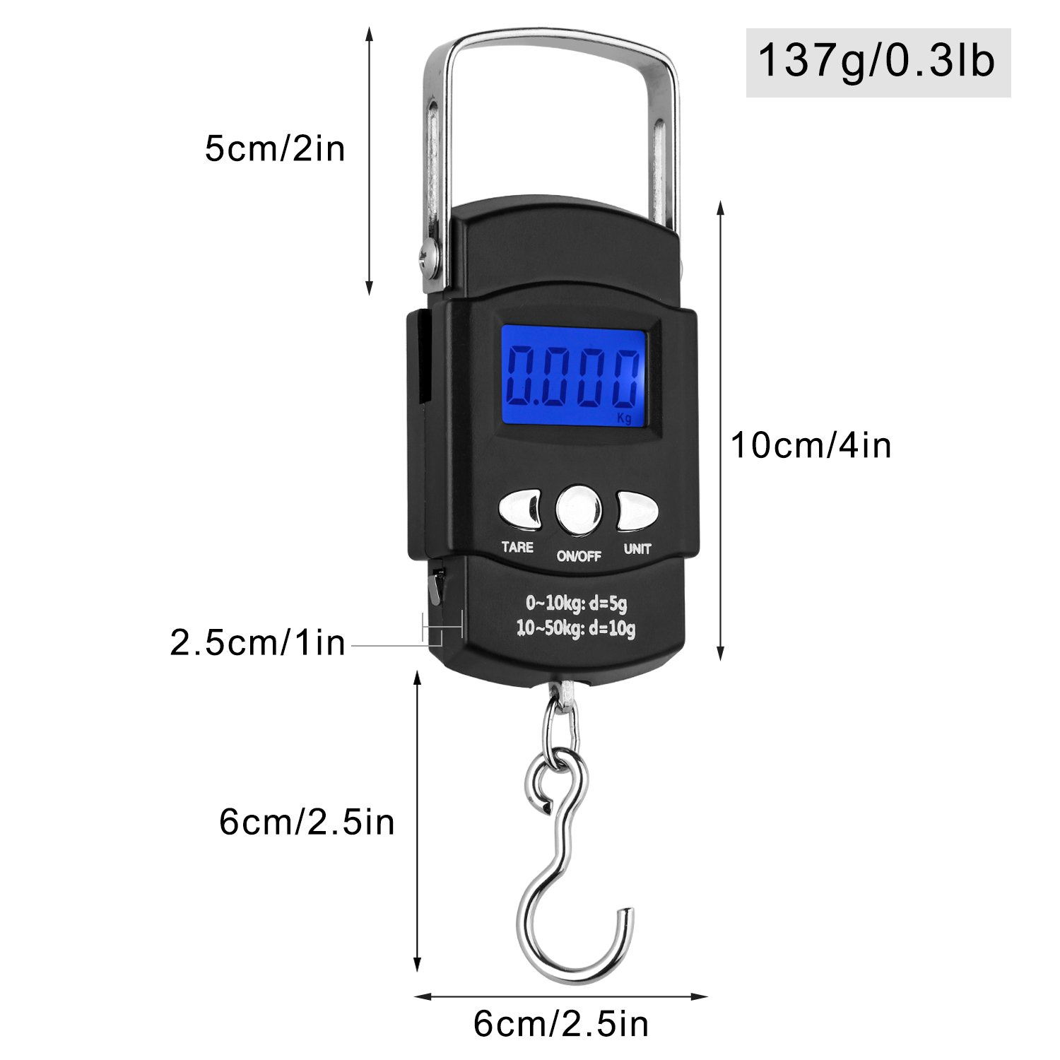 WERCOMIN Digital Fish Scale 110LB//50KG Portable Luggage Scale Hanging Postal Scale Backlit LCD Screen with Measuring Tape and Storage Bag Batteries Included
