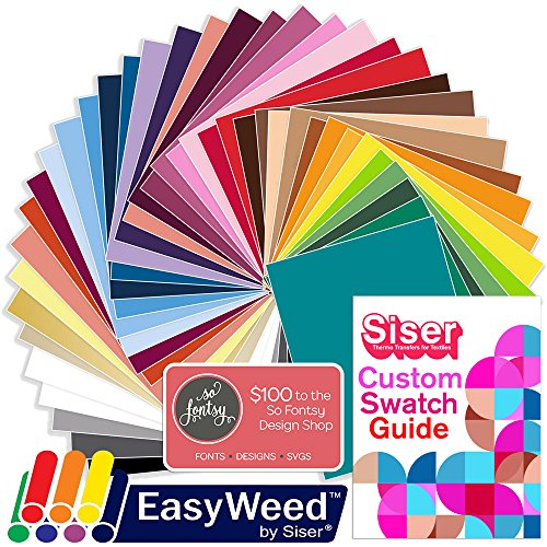 SISER EasyWeed Heat Transfer Shirt Vinyl Deluxe Easyweed Color Bundle, 12 Inch x 15 Inch with Design Card & Custom Swatch Book by Swing Design by SISER (Image #1)