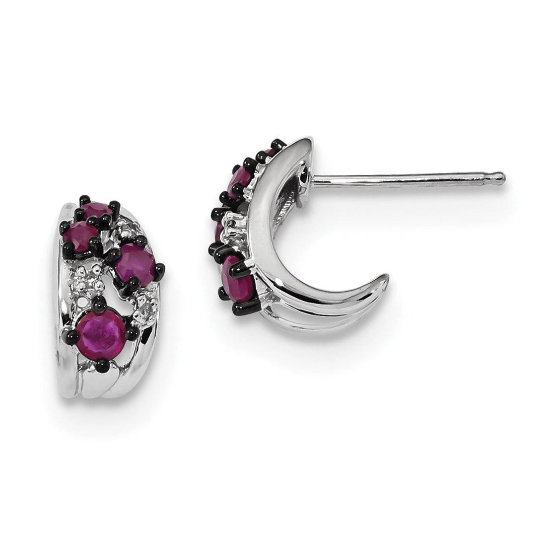 ICE CARATS 14k White Gold Diamond Red Ruby Post Stud Hoop Earrings Ear Hoops Set Drop Dangle Fine Jewelry Gift Set For Women Heart