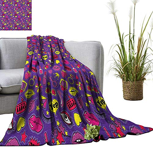 Emoji Weave Pattern Extra Long Blanket Nineties Comic Book Style Icons for Women with Cosmetics Stars Lips Hearts on Purple 30