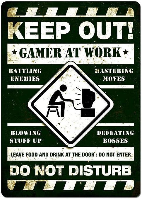 Todo para el streamer: HALEY GAINES Keep out Gamer At Work Placa Cartel Póster de Pared Metal Vintage Cartel de Chapa Decorativas Hojalata Signo para Bar Café Cocinas Los Baños Garajes 20×30cm