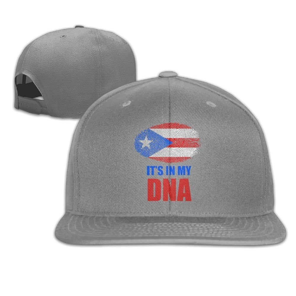 Puerto Rico Flag It's in My DNA Baseball Cap for Men&Women,Unisex Flat Bill Trucker Cap