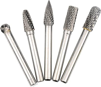 "6 Pieces Tugsten Carbide Double Cut Rotary Burr Set 1//4/"" 6 pieces 1//4/'/'"