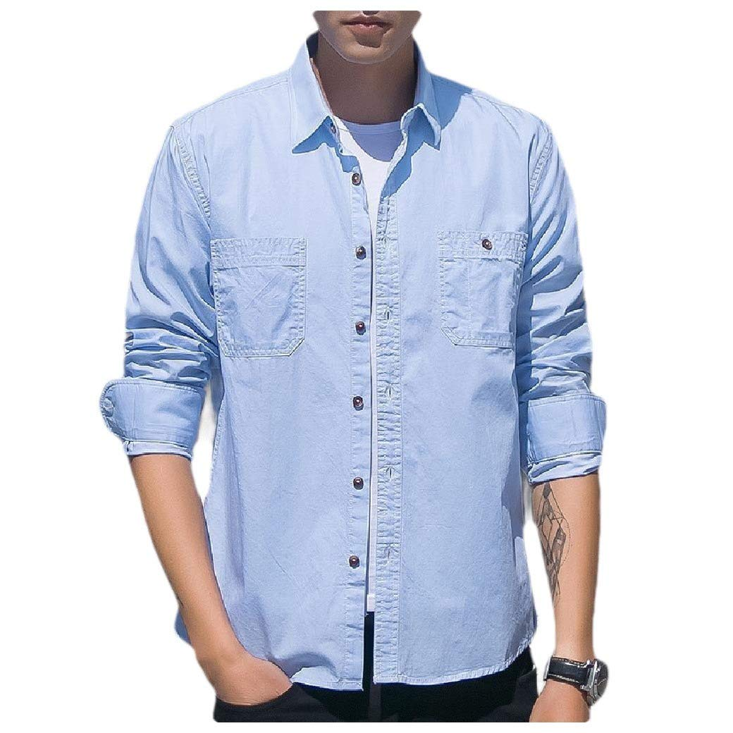 Fseason-Men Simple Denim T-Shirts Baggy Original Fit Western Shirt