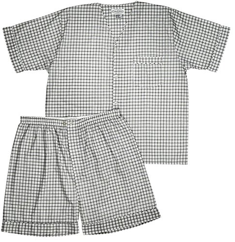 Comfort Zone Men's Woven Pajama V-Neck Sleepwear Short Sleeve Shorts and Top Set, Sizes S/4XL -Gray Plaids - Medium