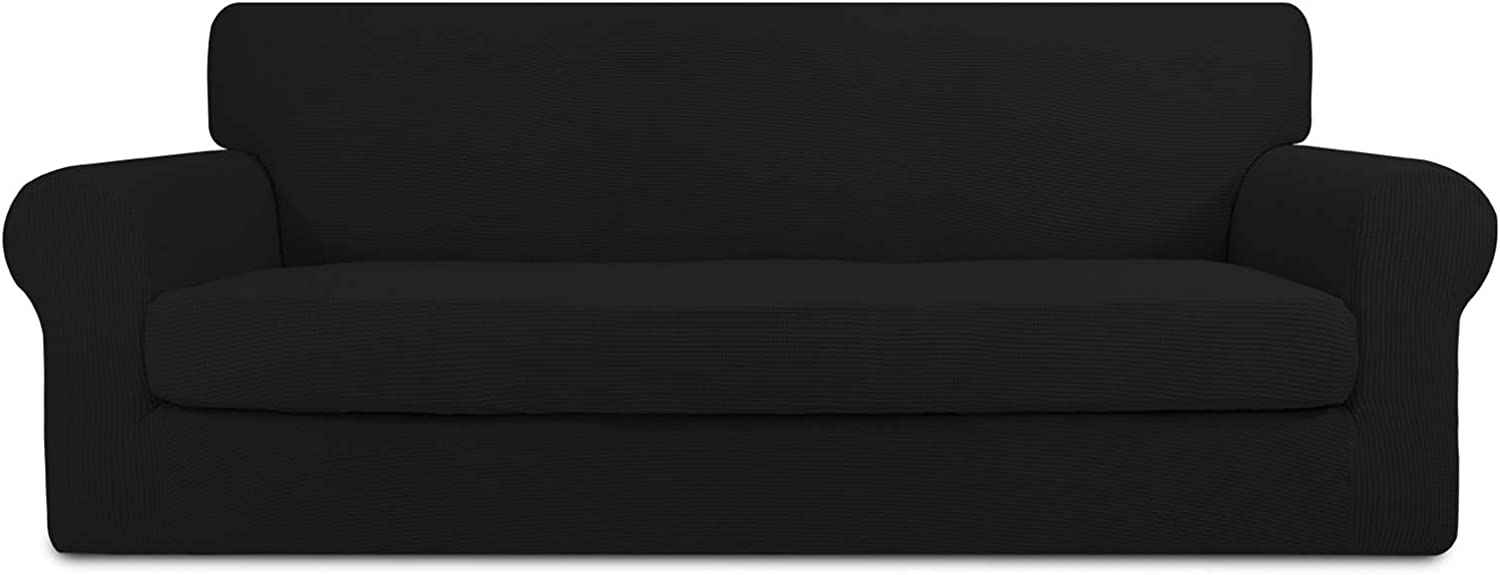 PureFit 2 Pieces Stretch Slipcover for 3 Cushion Couch – Spandex Jacquard Non-Slip Soft Fitted Sofa Couch Cover, Washable Furniture Protector with Non-Skid Elastic Bottom for Kids (Sofa, Black)