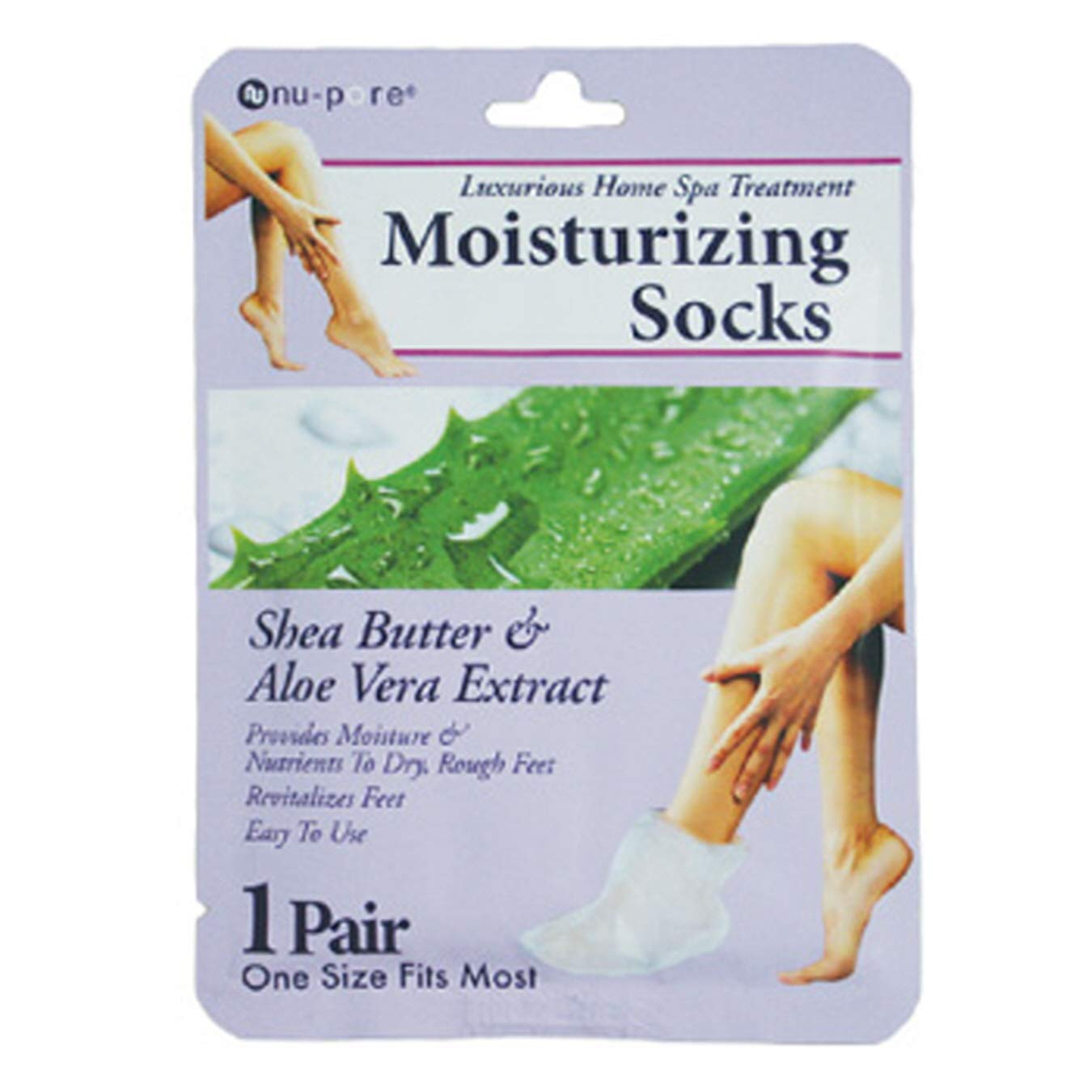 (Pack of 48) Nupore Moisturizing Socks Shea Butter & Aloe Vera Extract