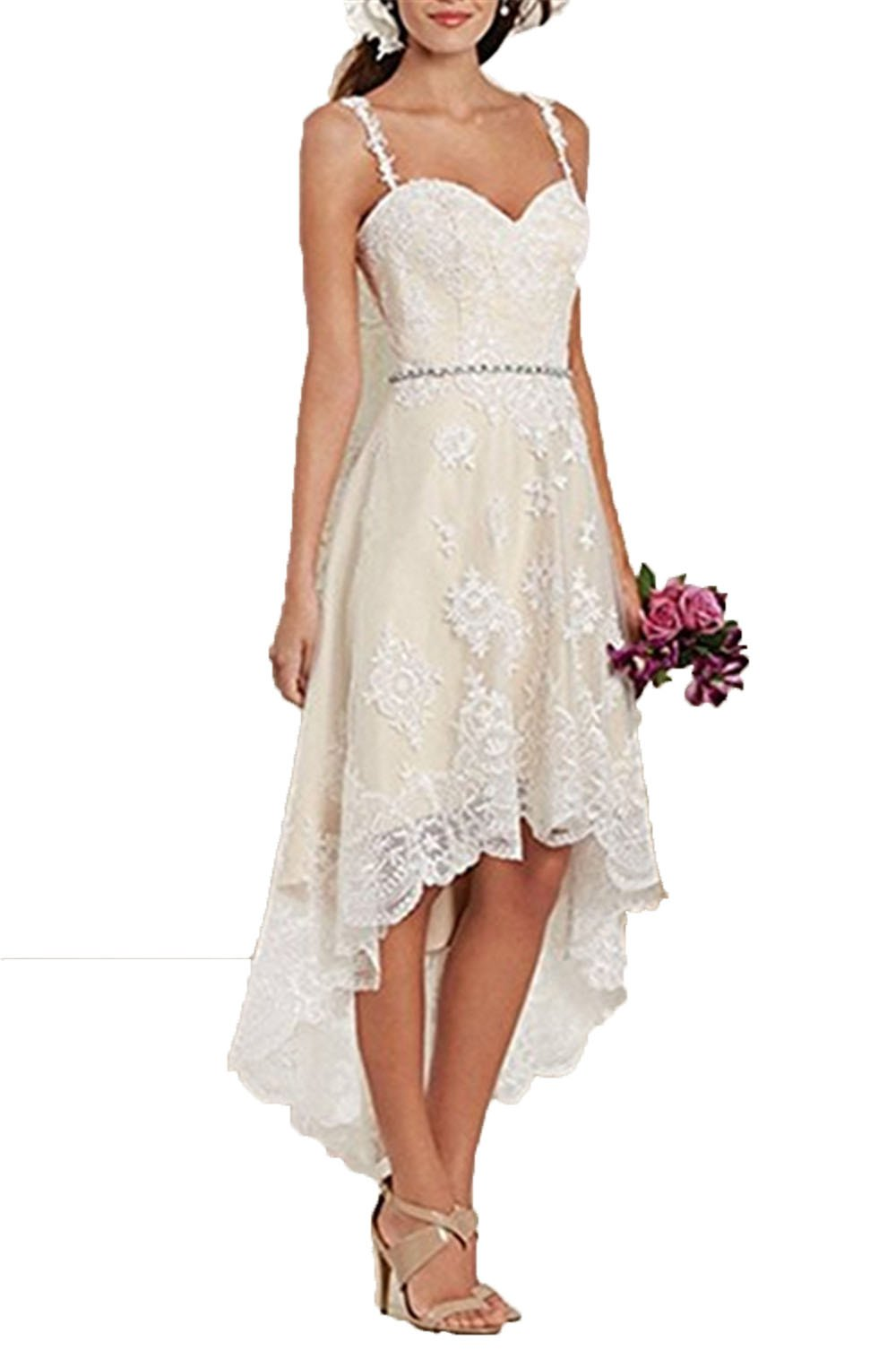 Uryouthstyle A-line Spaghetti Wedding Gowns Lace Tiers Bridal Dresses US4 IV