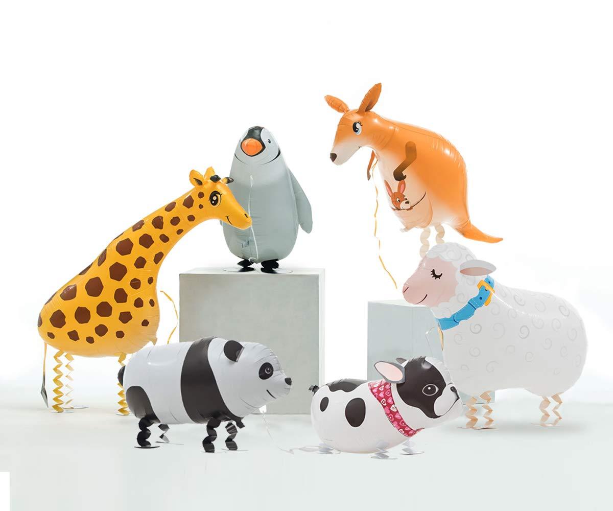 6pcs Cute Walking Animal Balloons for Animal Theme Party Kids Gifts Birthday Party Decor with Panda, Penguin, Kangaroo, Giraffe, Sheep, Bulldog