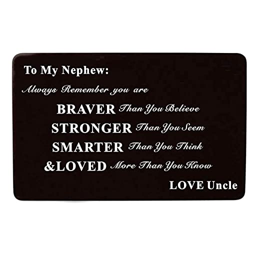 Amazon Laser Engraved Aluminum Metal Wallet Card Love Note Insert Gift For Nephew Birthday From Uncle Clothing