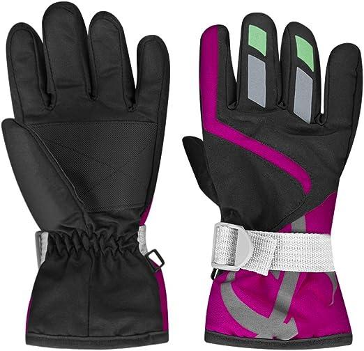 Blue Oenbopo Kids Boys Girls Thick Soft Fleece Lined Gloves Winter Sports Outdoors Warm Ski Gloves