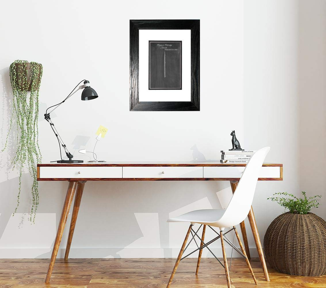 Sewing Needle Patent Art Chalkboard Print in a Black Pine Wood Frame with a Double Mat (16'' x 20'') M15826 by Frame a Patent (Image #2)