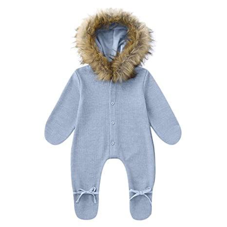 706e1b39e Fineser Baby Clothes Winter Baby Romper, Newborn Infant Baby Boy Girl  Hooded Romper Jumpsuit Fur
