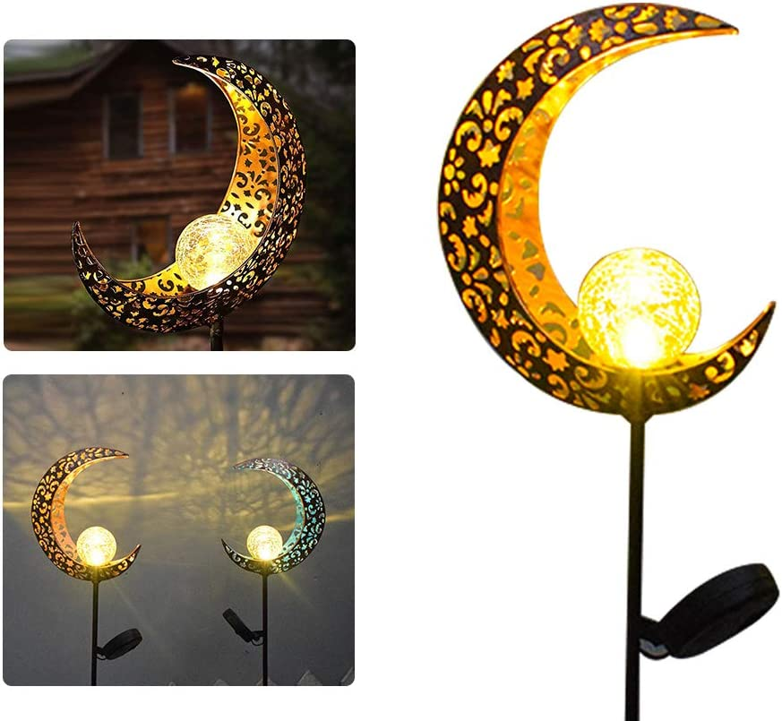 N/D Garden Solar Pathway Lights,Outdoor Moon Crackle Glass Globe Stake Metal Lights,Waterproof Warm White LED Light for Lawn,Patio or Courtyard Decor Landscape Lights (1)