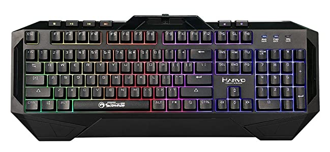 Marvo Scorpion Backlit Multimedia Gaming USB Keyboard - KG860 - Multicolor