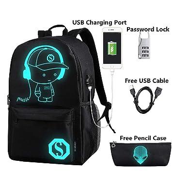 flymei Anime Cartoon luminoso mochila con puerto de carga USB y estuche, diseño de Lock