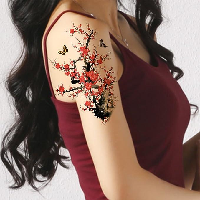 TAFLY grande tatuajes temporales de flores y mariposas tatuaje ...