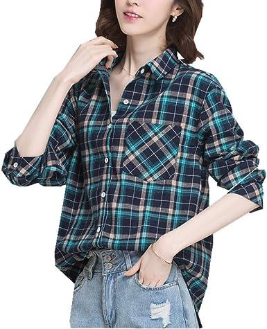 Camisa de Cuadros de Design Sense Minority para Mujer, Abrigo ...