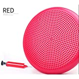 Professional Air Stability Suction Cushion/Balancing Panel, Balance Disc Training & Durable & Safe Fitness Chair, 34' Diameter With Pump & Needle - Ideal Gift For,Red