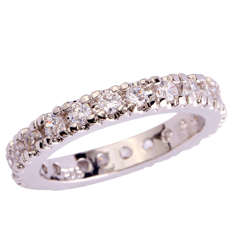 Psiroy 925 Sterling Silver Created White Topaz Filled Eternity Stacking Ring Band Size 9