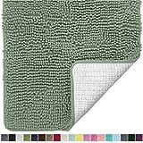 Gorilla Grip - Alfombra de baño de felpilla de lujo original, 36 x 24, extra suave y absorbente, lavable a máquina y seca, alfombra de felpa perfecta para tina, ducha y cuarto de baño, color verde salvia