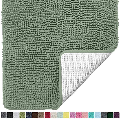 Gorilla Grip Original Luxury Chenille Bathroom Rug Mat, 30x20, Extra Soft and Absorbent Shaggy Rugs, Machine Wash Dry, Perfect Plush Carpet Mats for Tub, Shower, and Bath Room, Sage Green