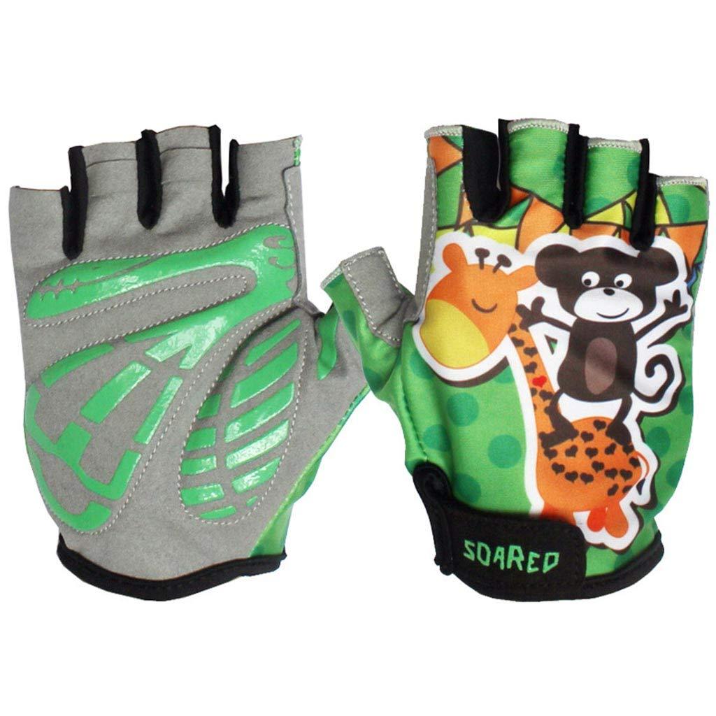 Gogokids Kids Half Finger Cycling Gloves - Children Sports Gloves for Roller Skating, Road Bicycle, Mountain Bike, Climbing, Blue L SDW Trading Co. LTD