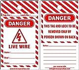 KRM LOTO DANGER - LIVE WIRE TAGS (Set of 50 pcs)