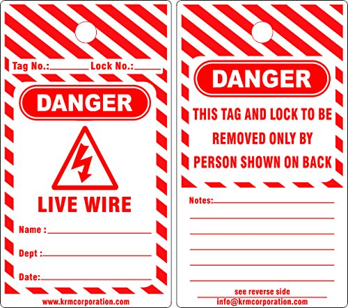 KRM LOTO DANGER - LIVE WIRE TAGS (Set of 50 pcs)