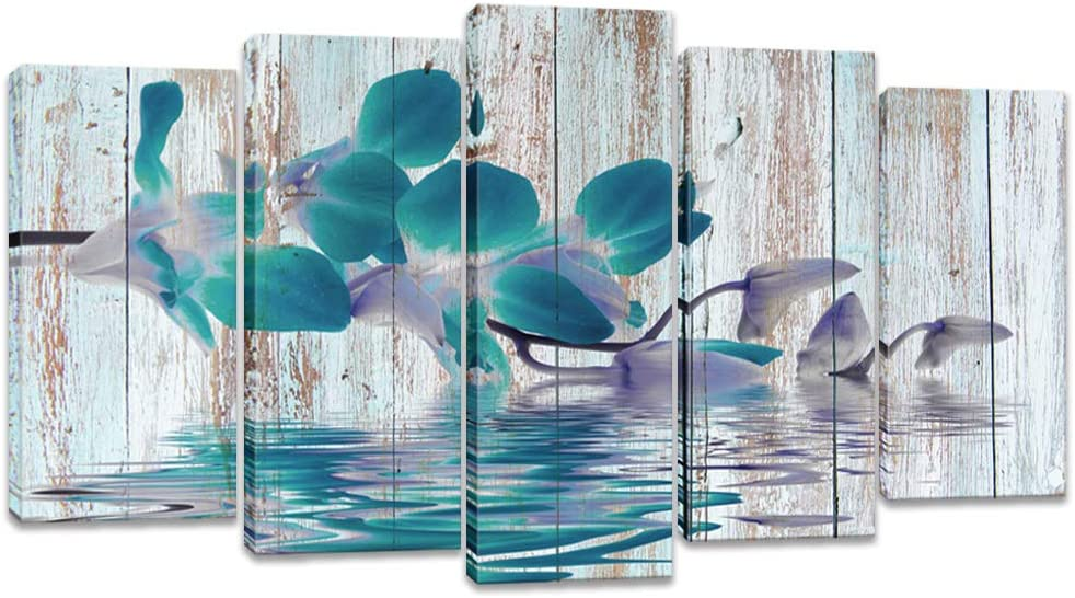 Visual Art Decor Rustic Flowers Wall Art Teal Orchid with Fancy Reflection Floral Zen Canvas Prints Gallery Wrap Decoration Contemporary Art for Home Living Room (W-60 xH-32)