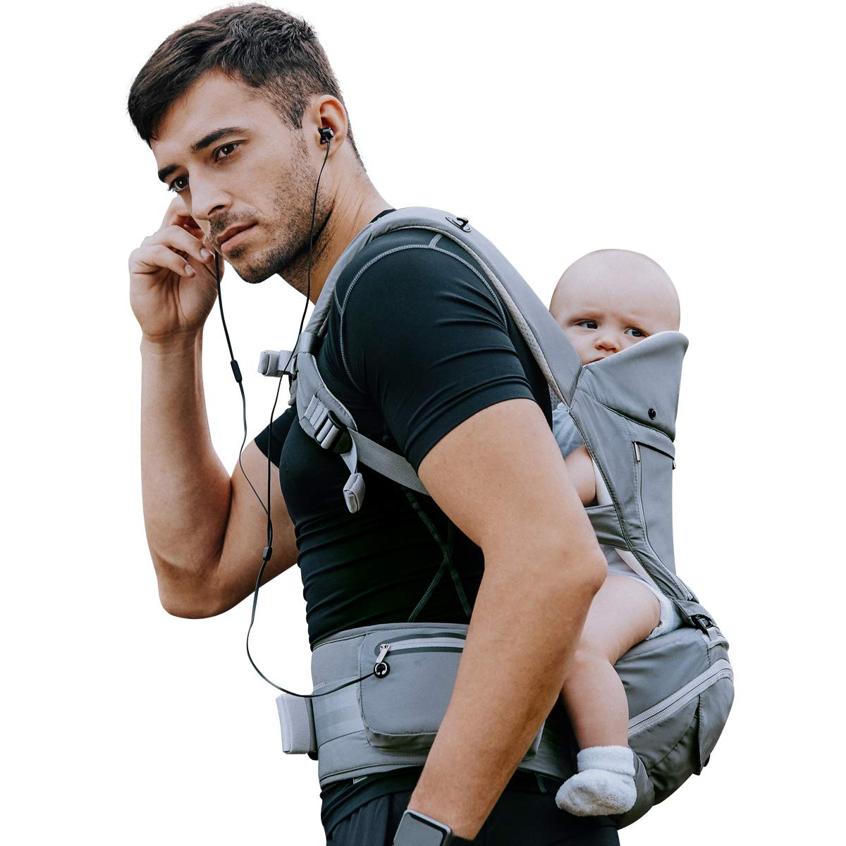 Bebamour Baby Carrier Hip Seat 6 in 1 Classical Desgined Baby Carrier Backpack 0-36months (Noble Grey) UKAX19