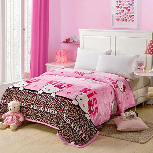 Warm-Embrace-Childrens-Blankets-series-Leopard-HELLO-KITTY-Flannel-Blanket