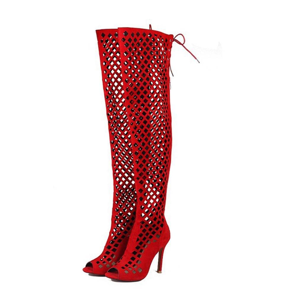 QPYC Damen Sommer Sandalen nach der Spitze Spitze der über Knie Abdeckung feine Heels hohlen Fisch Mund High Heel Nachtclub Bar Sandalen Stiefel große Größe 32-46 , ROT , 40 - 4720d9