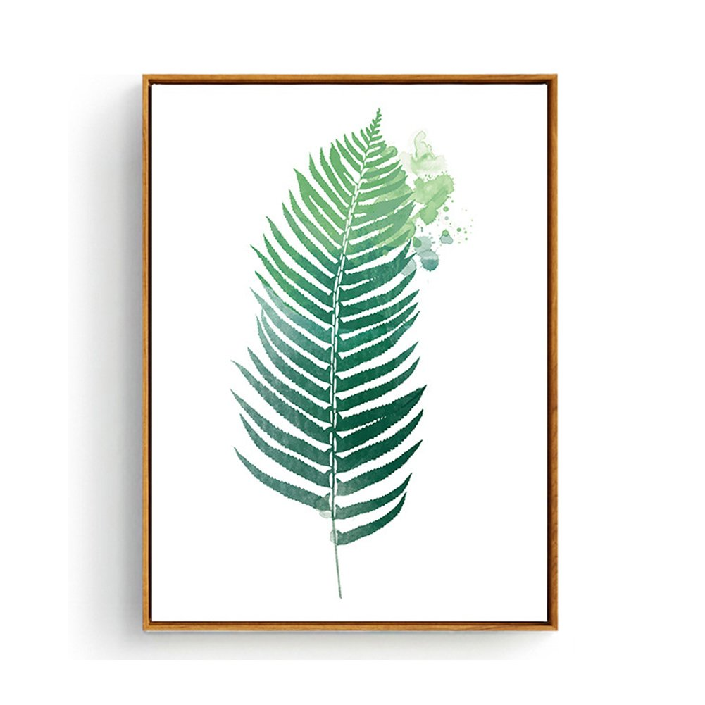 Hepix Tropical Palm Leaves Wall Art Canvas Framed Botanical Prints Wall Decor Bathroom Bedroom Contemporary Wall Paintings for Modern Home Decor Stretched and Framed Ready to Hang 13 x 17 inch