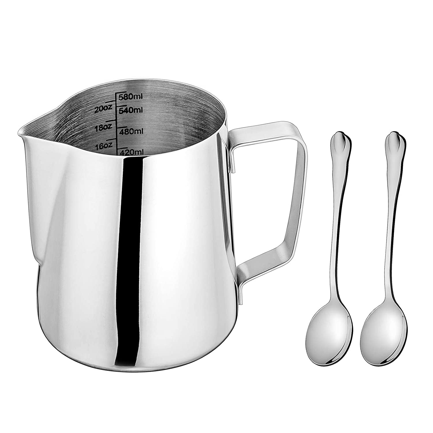 Milk Frothing Pitcher, LIANYU Stainless Steel Espresso Coffee Steaming Pitcher 20oz, Dishwasher Safe, Attached Mini Tea Spoons