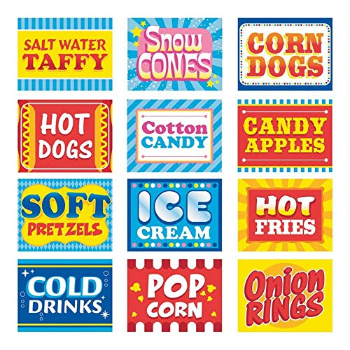 Fun Express Carnival Food Signs Decor - 12 Pieces