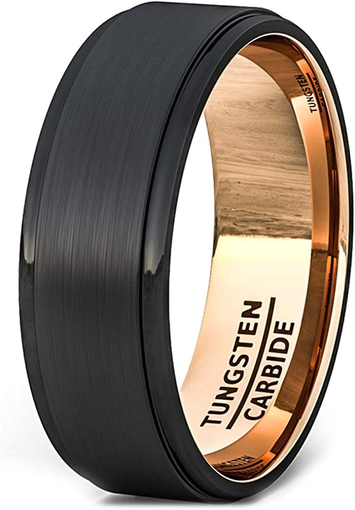 Duke Collections Mens Wedding Band 8mm Black Brushed Tungsten Ring Thin Side Rose Gold Groove Line Line Flat Edge Comfort Fit