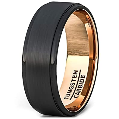 70cfbf10c6f Duke Collections Mens Wedding Band Two Tone Black Rose Gold Tungsten Ring  Brushed Center Step Edge