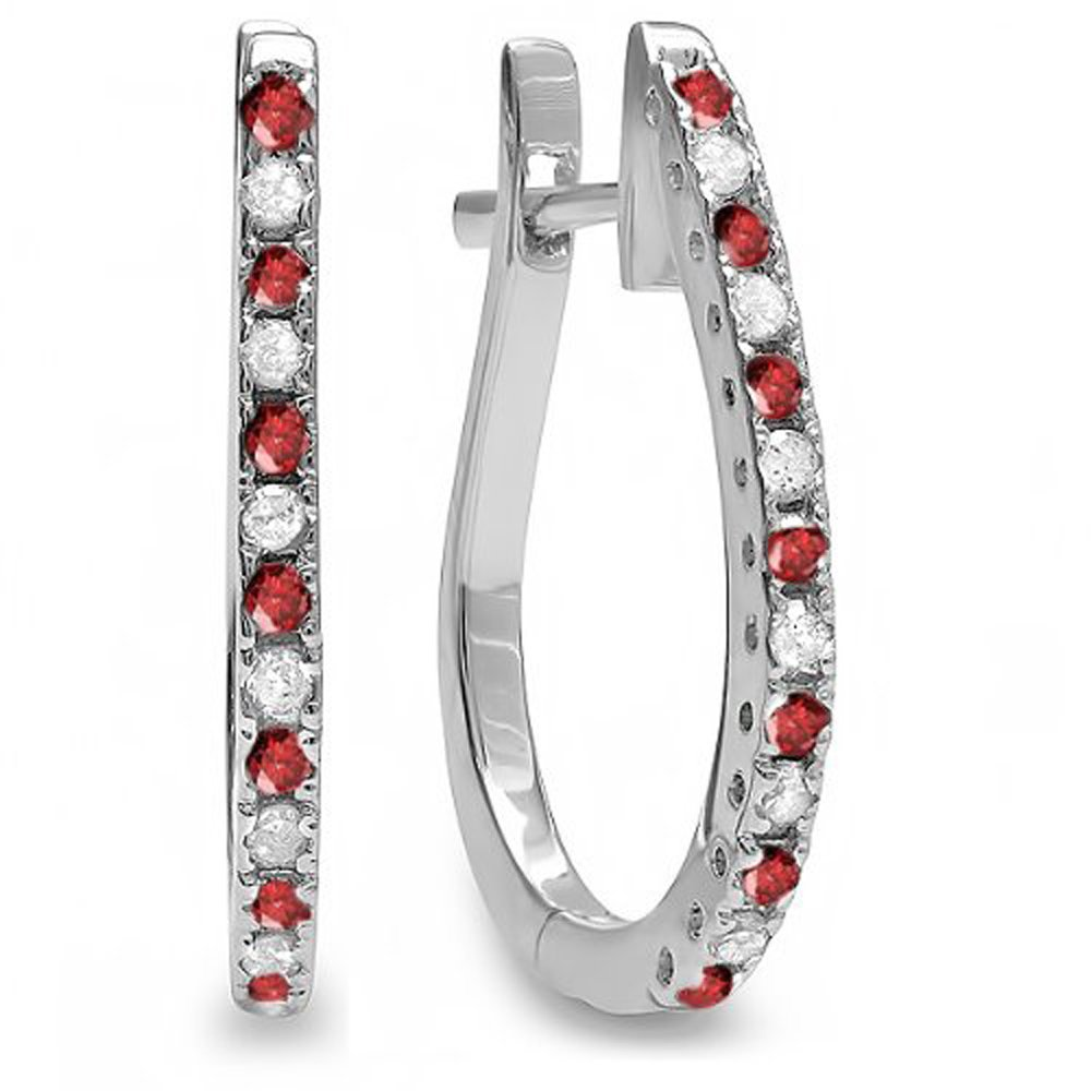 Dazzlingrock Collection 14K Round Ruby & White Diamond Ladies Hoop Earrings, White Gold
