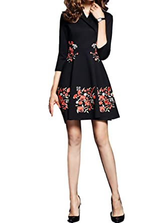 sekitoba-japan.inc V Neck Embroidered Floral 2/3 Sleeves Cocktail Party Dress