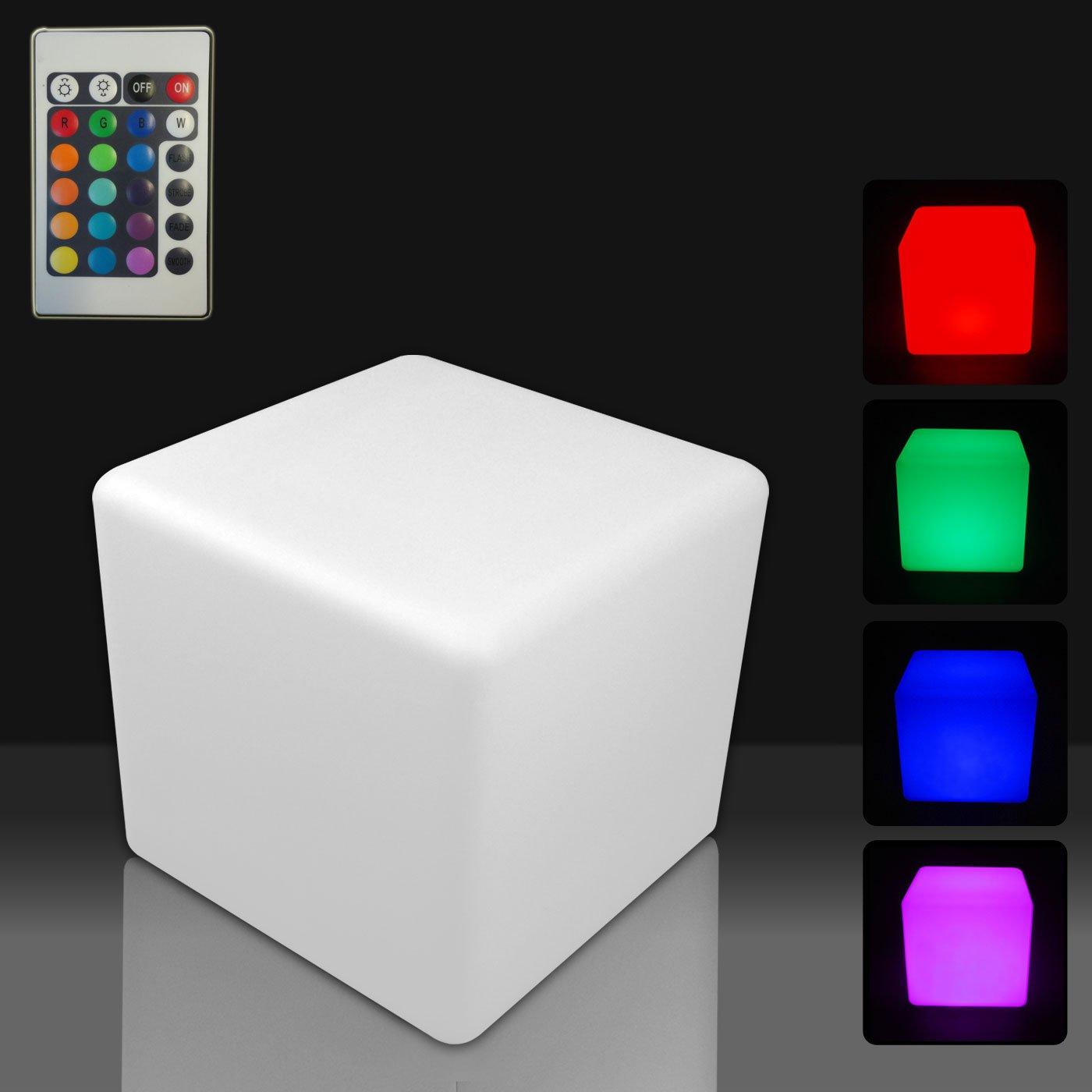 Mervy - Cube Led Lumineux Multicolore 40cm Rechargeable Avec Télécommande  Intérieur / Extérieur: Amazon.fr: Jardin