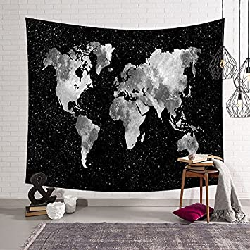 Amazon black and white world map decor tapestry wall art black and white world map decor tapestry wall art hanging for home dorm living room dorm gumiabroncs Choice Image