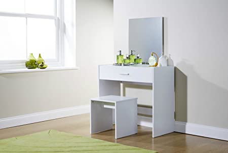 Julia White Modern Contemporary Dressing Table Set Stool Mirror ...