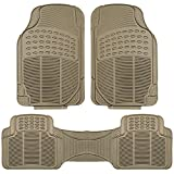 2014 cadillac cts floor mats oem - FH Group F11306BEIGE Tan All Weather Floor Mat, 3 Piece (Full Set Trimmable Heavy Duty)