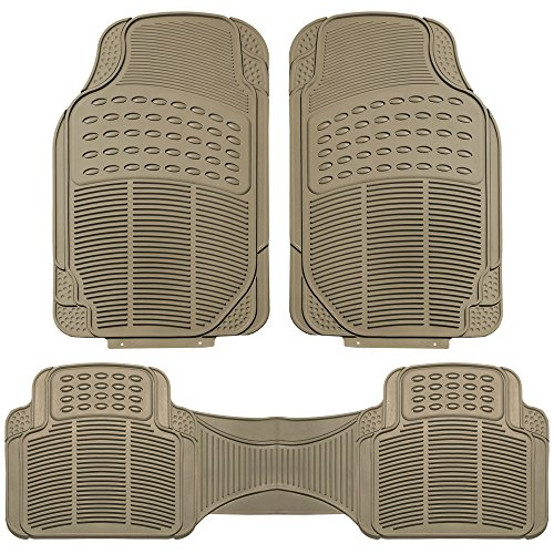 FH Group F11306BEIGE Tan All Weather Floor Mat, 3 Piece (Full Set Trimmable Heavy Duty) ()