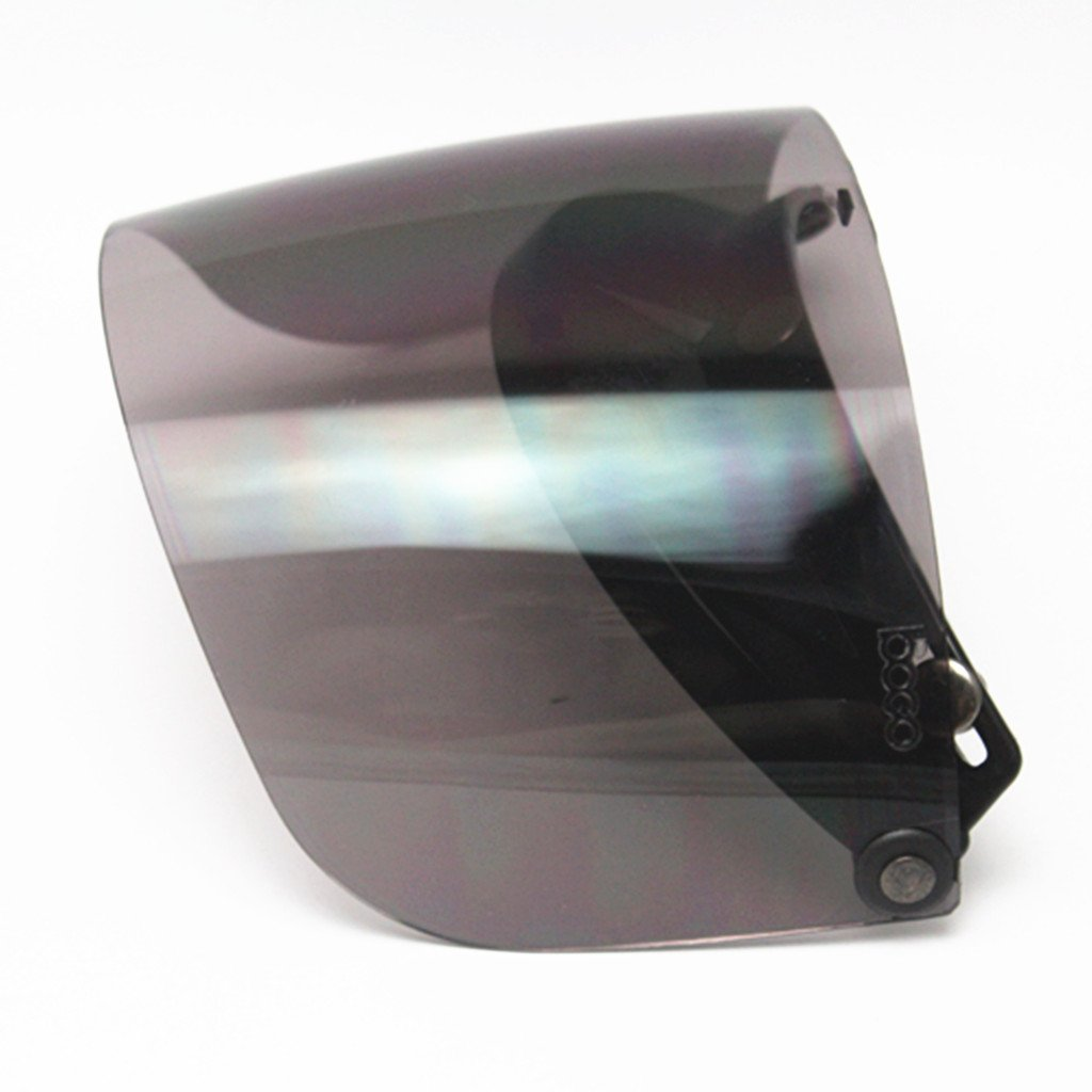 MagiDeal Universal Motorcycle 3 Snap-Button Visor with Flip-up Mirror Shield Clear