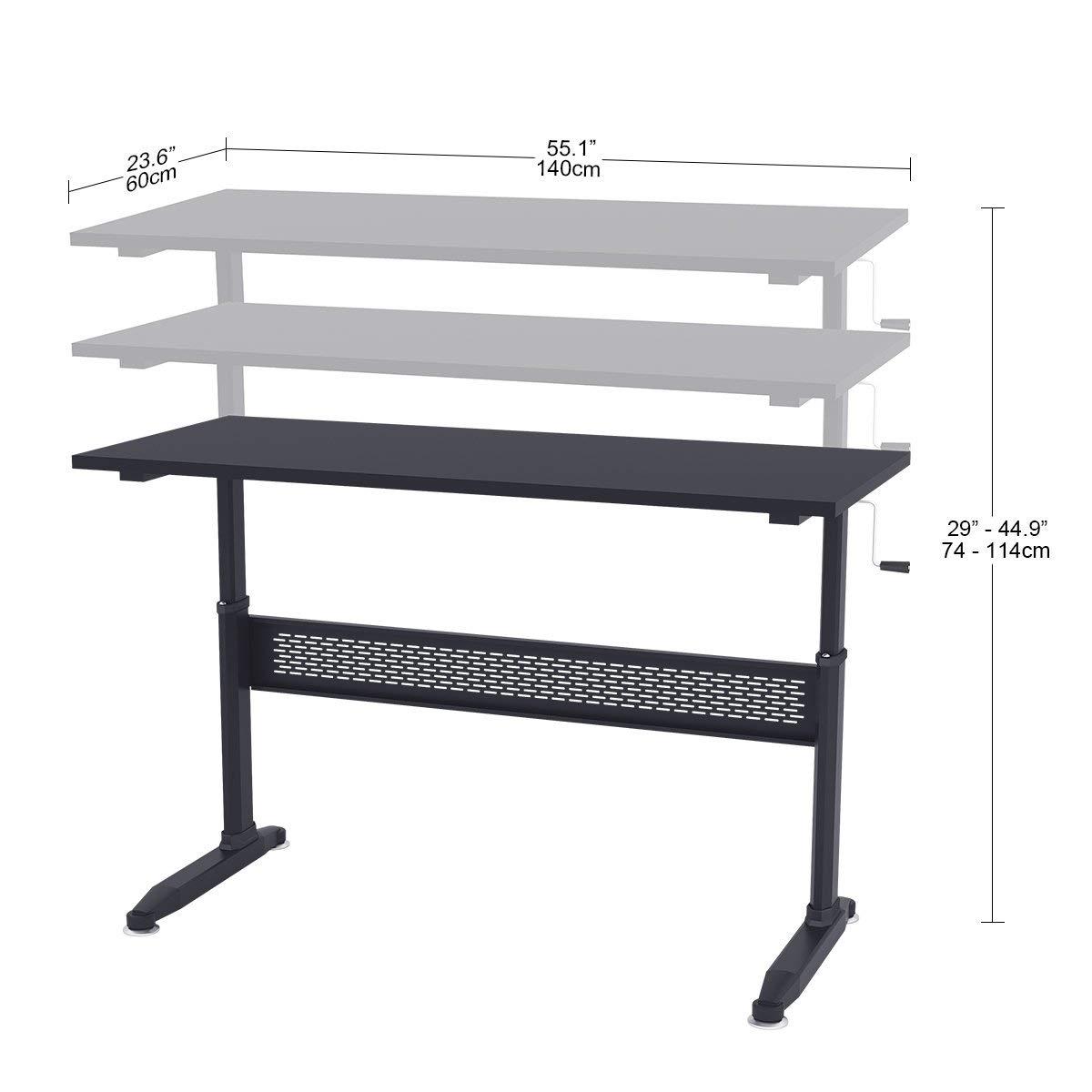 DEVAISE H/öhenverstellbare Schreibtische//Computertische//Stehpult mit Seite Kurbel; 140cm Breit Schwarz